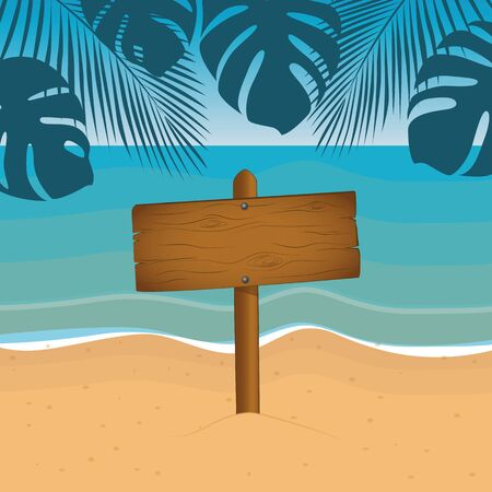 wooden sign summer holiday design on the beach with palm leaf vector illustration EPS10