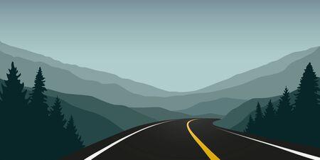 asphalt highway between the mountains travel landscape vector illustration EPS10 Ilustrace