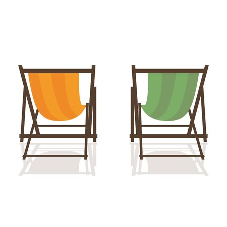 two deck chairs on white background summer holiday vector illustration EPS10 Reklamní fotografie - 139674236
