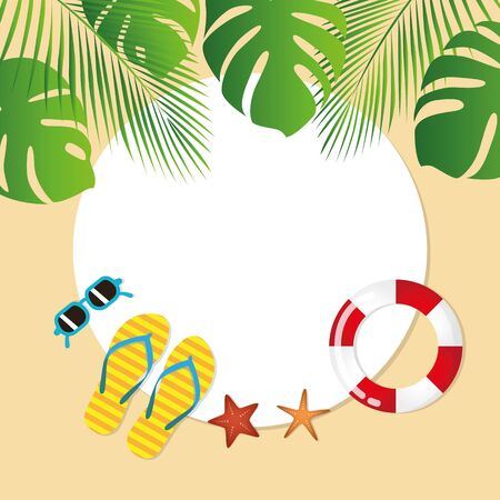 summer holiday design with palm sunglasses flip flops and starfish vector illustration EPS10