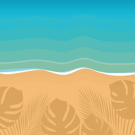 summer holiday beach and ocean background with palm leaves shadow vector illustration EPS10