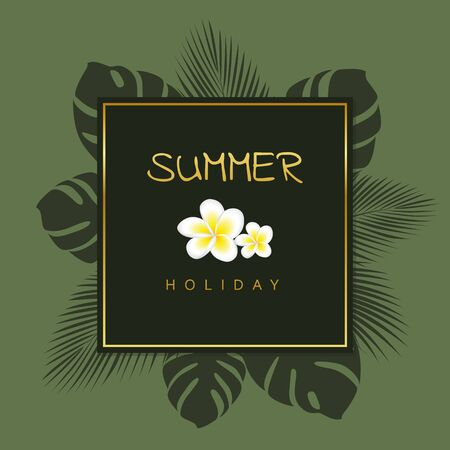 elegant green and gold summer holiday design with palm leaves vector illustration EPS10