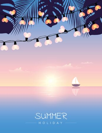 summer holiday sail boat on the sea at sunset with palm leaves and fairy light vector illustration EPS10 Reklamní fotografie - 139676067
