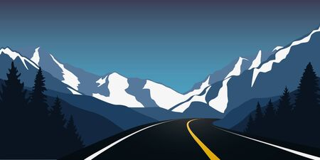 asphalt highway in the snowy mountains winter landscape vector illustration EPS10
