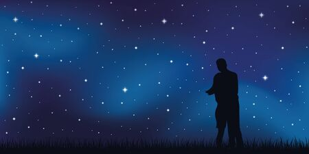 young couple in love looks in the starry sky vector illustration EPS10 Reklamní fotografie - 139714034