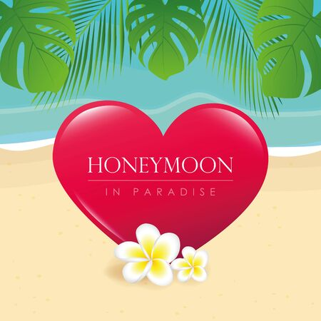 honeymoon in paradise design on the beach with palm leaf vector illustration EPS10 Reklamní fotografie - 139713948