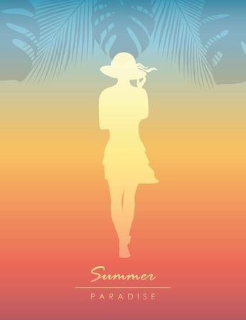 cute young girl on tropical summer paradise background vector illustration EPS10
