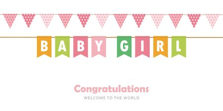 baby girl party flag welcome greeting card for childbirth vector illustration EPS10