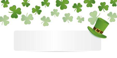 white banner with green hat on shamrock clover background vector illustration EPS10