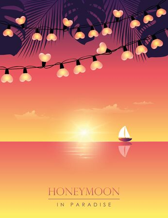 honeymoon in paradise sail boat on the sea at sunset with palm leaves and fairy light vector illustration EPS10