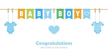baby boy party flag welcome greeting card for childbirth