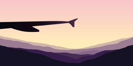 sunrise in the mountains view from the plane vector illustration EPS10