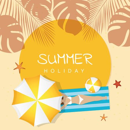 summer holiday design girl is lying on the beach under an umbrella and palm tree 矢量图像