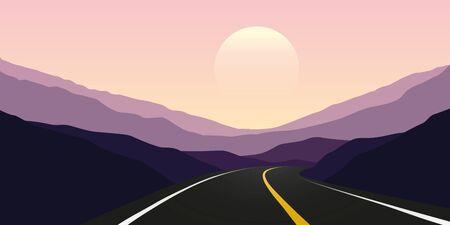 asphalt highway sunset in the mountains travel landscape vector illustration EPS10 Ilustrace