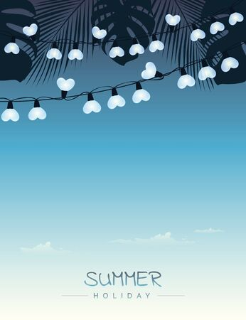 summer holiday sky background with palm leaves and fairy light vector illustration EPS10