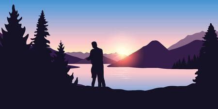 young couple by the river in forest nature landscape at sunrise vector illustration EPS10