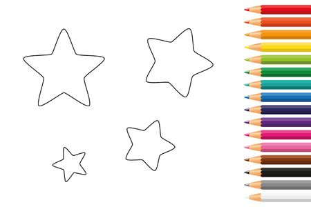 stars coloring book with pencils vector illustration EPS10