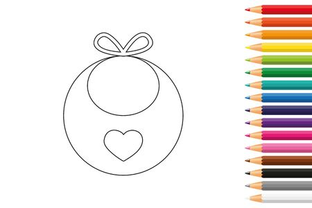 baby bib for coloring book with pencils vector illustration EPS10