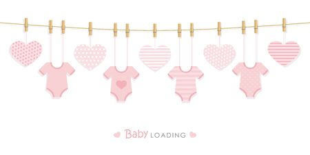 baby shower welcome greeting card for childbirth with hanging bodysuits vector illustration EPS10