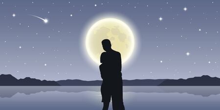 romantic night couple in love at the sea with full moon and falling stars vector illustration EPS10 Ilustrace