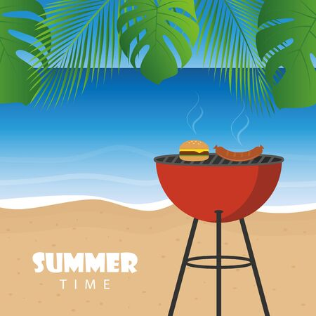 summer time barbeque on the beach with palm leaf vector illustration EPS10