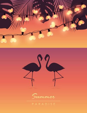 tropical summer by the sea with flamingos fairy light and palm leaves vector illustration EPS10 Zdjęcie Seryjne - 140202319