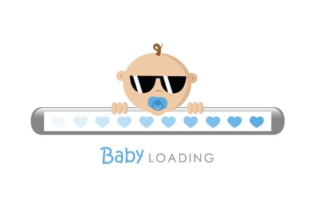 cool baby boy with sunglasses loading bar vector illustration EPS10