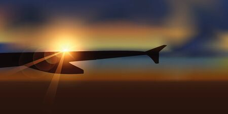 beautiful sunrise view from the plane vector illustration EPS10