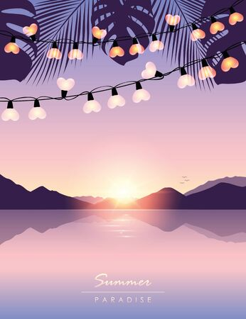tropical summer paradise sea at sunrise with fairy light and palm leaves vector illustration EPS10 Иллюстрация