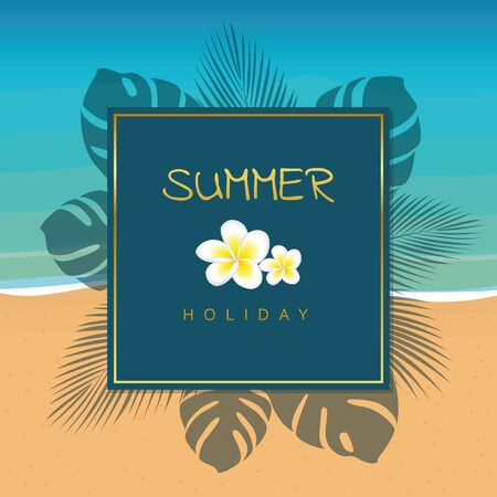 blue and gold summer holiday design with palm leaves on the beach vector illustration EPS10