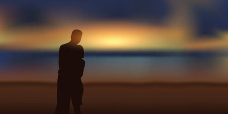 romantic couple in love looking at magic sunset on the beach vector illustration EPS10