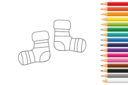 baby socks for coloring book with pencils vector illustration EPS10