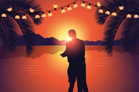 couple enjoy the romantic sunset at paradise beach Ilustración de vector