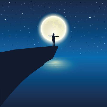 girl with raised arm enjoy the full moon by the ocean vector illustration EPS10