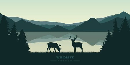 two reindeers by the lake at sunrise wildlife nature landscape vector illustration EPS10 Ilustrace