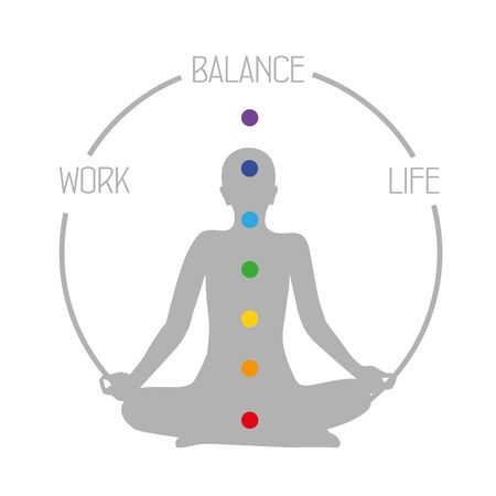 work life balance meditation concept on white background vector