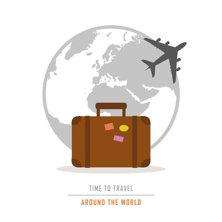 time to travel around the world with suitcase and plane vector illustration EPS10 Çizim