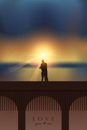romantic couple in love on a bridge by the sea at magic sunset vector illustration EPS10