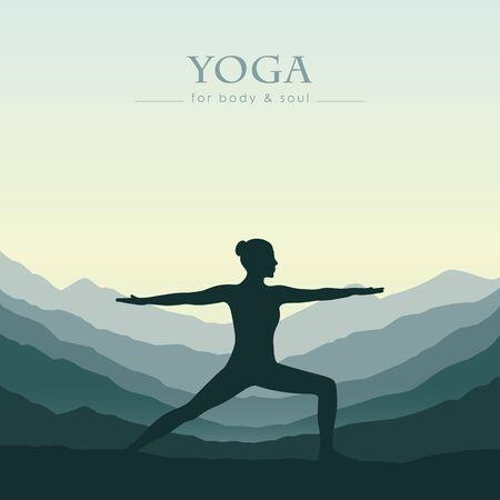 girl makes yoga on green mountain landscape vector illustration EPS10