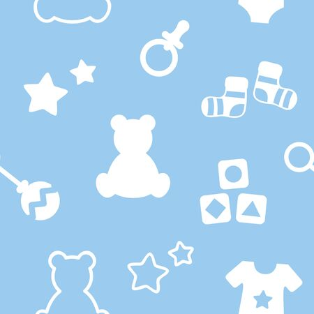 cute baby utensils bear socks rattle pacifier star seamless pattern vector illustration EPS10