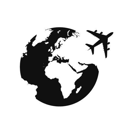 plane flying around the globe travel icon vector illustration EPS10