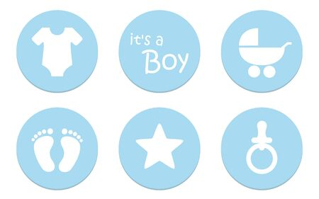its a boy baby symbol icon bodysuit feet star pacifier and stroller vector illustration EPS10 向量圖像