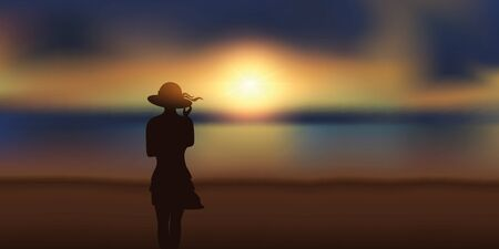 pretty girl with summer hat looking at magic sunset on the beach vector illustration EPS10