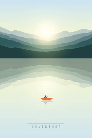 lonely canoeing adventure boat at sunrise by the lake on mountain nature landscape vector illustration EPS10