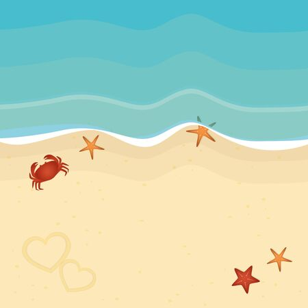 summer holiday on the beach with starfish and crab vector illustration 向量圖像