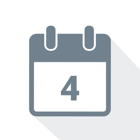 simple calendar icon 4 on white background vector illustration