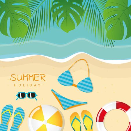 different beach utensils summer holiday background with flip flops sunglasses bikini crab and starfish vector illustration