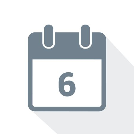 simple calendar icon 6 on white background vector illustration Çizim