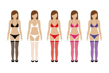 set of women with thigh high stockings in different colors vector illustration Vetores