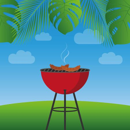 summer bbq under palm leaves with red kettle barbecue and sausages vector illustration Ilustracja